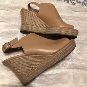 A.N.A. Nude wedges, size 9